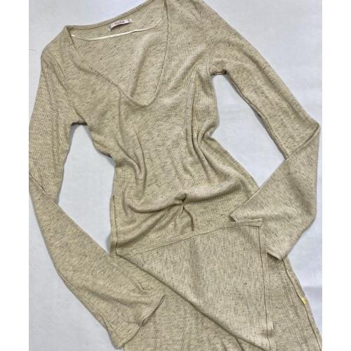 Bluza PULL&BEAR - Long-Cut Beige -