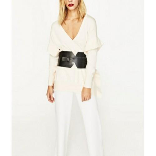 Pulover dama oversized Zara Knit creamy - size M