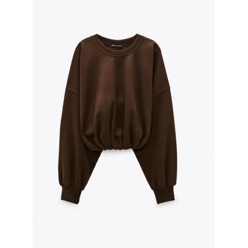 Bluza dama Zara brown hood - size S