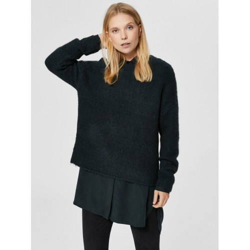 Pulover dama Selected green wool, size L